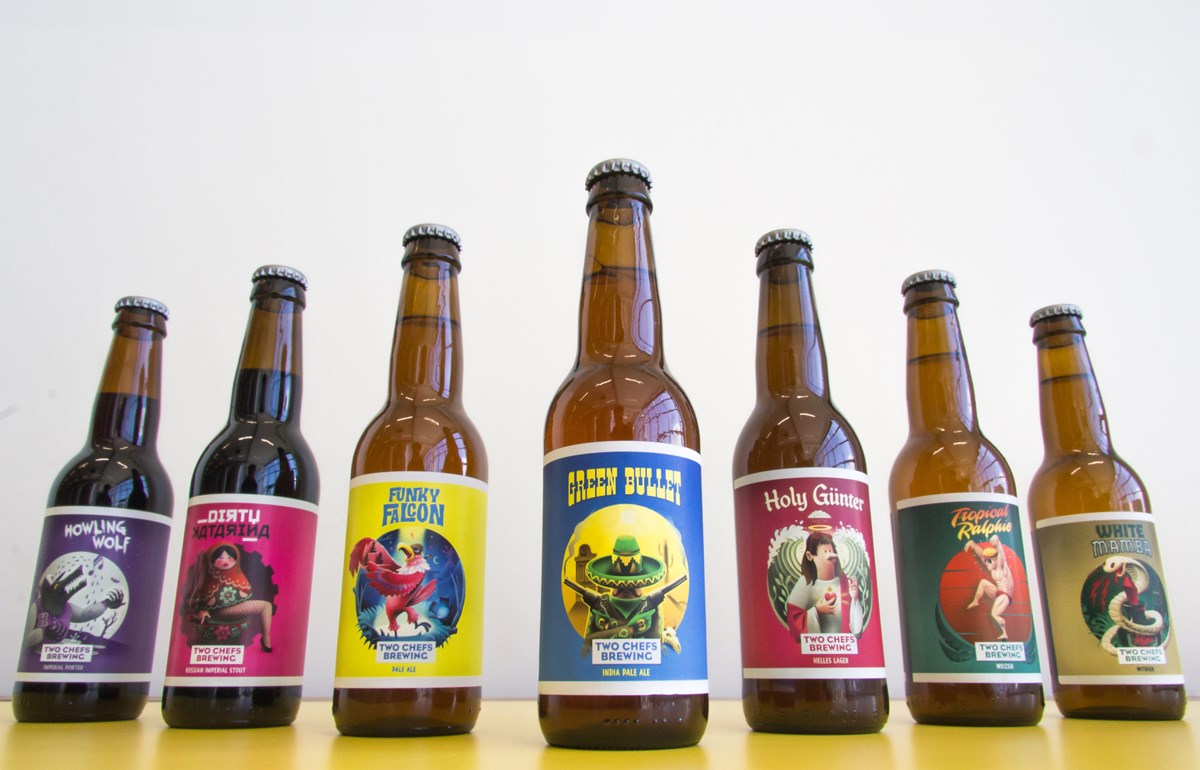 The beers from Two Chefs Brewing