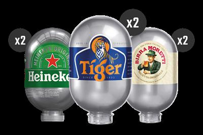 2 Heineken + 2 Tiger + 2 Birra Moretti - BLADE Kegs
