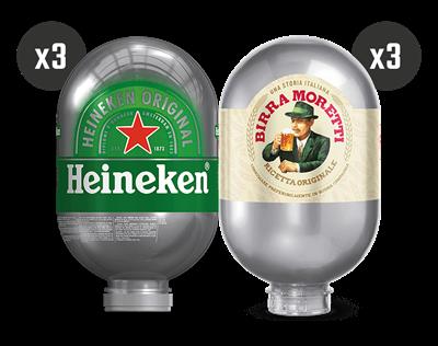 3 Heineken + 3 Birra Moretti - BLADE Kegs