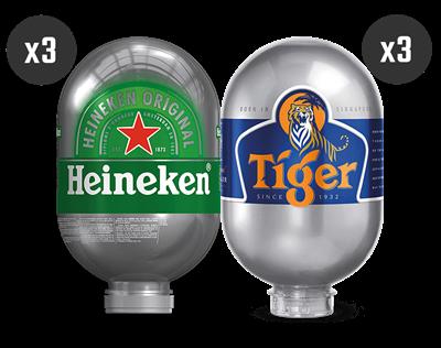 3 Heineken + 3 Tiger - BLADE Kegs