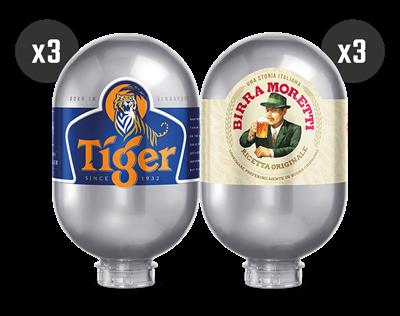 3 Tiger + 3 Birra Moretti - BLADE Kegs