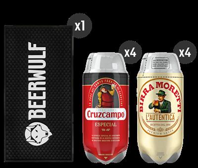 4 Cruzcampo Especial + 4 Birra Moretti L'Autentica + Corredor de Barra