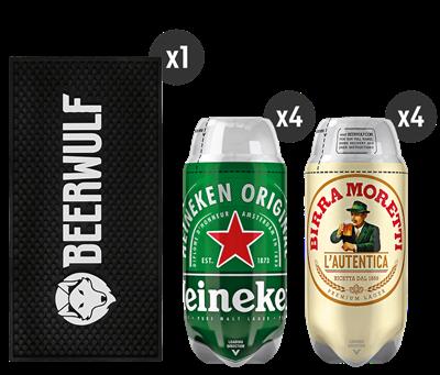 4 Heineken + 4 Birra Moretti L'Autentica + Beerwulf Bar Mat