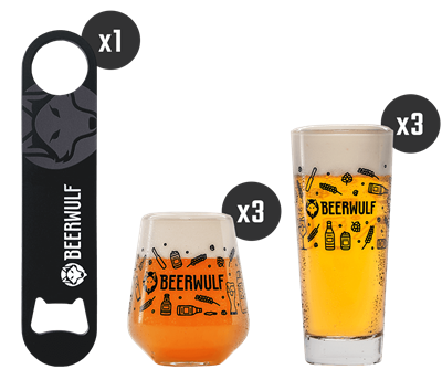 Beerwulf Beer Glass and Opener Kit